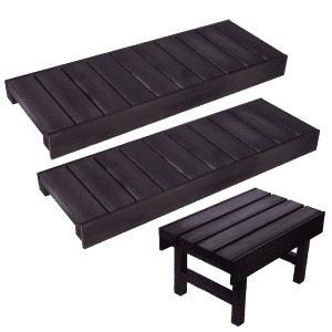 Valmislauteet Basic 500x2000 (stout), lauteet ja saunan nousujakkara.
