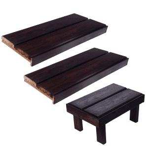 Valmislauteet Maxi 500-670x2000 (stout), lauteet ja saunan nousujakkara.